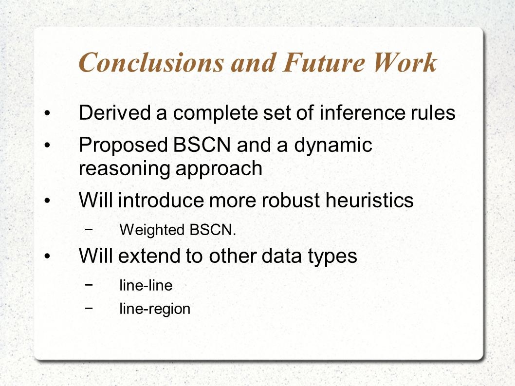 Conclusions and Future Work Derived a complete set of inference rules Proposed BSCN and a dynamic reasoning approach Will introduce more robust heuristics Weighted BSCN.
