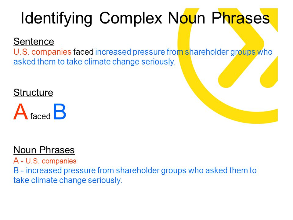 Sentence U.S. companies faced increased pressure from shareholder groups who asked them to take climate change seriously. Structure A faced B Noun Phr