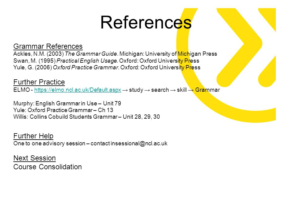 References Grammar References Ackles, N.M. (2003) The Grammar Guide. Michigan: University of Michigan Press Swan, M. (1995) Practical English Usage. O