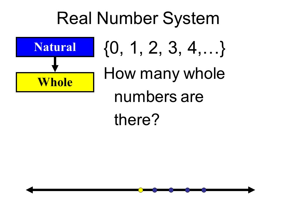 Real Number System Natural {1, 2, 3, 4,…} How many natural numbers are there?