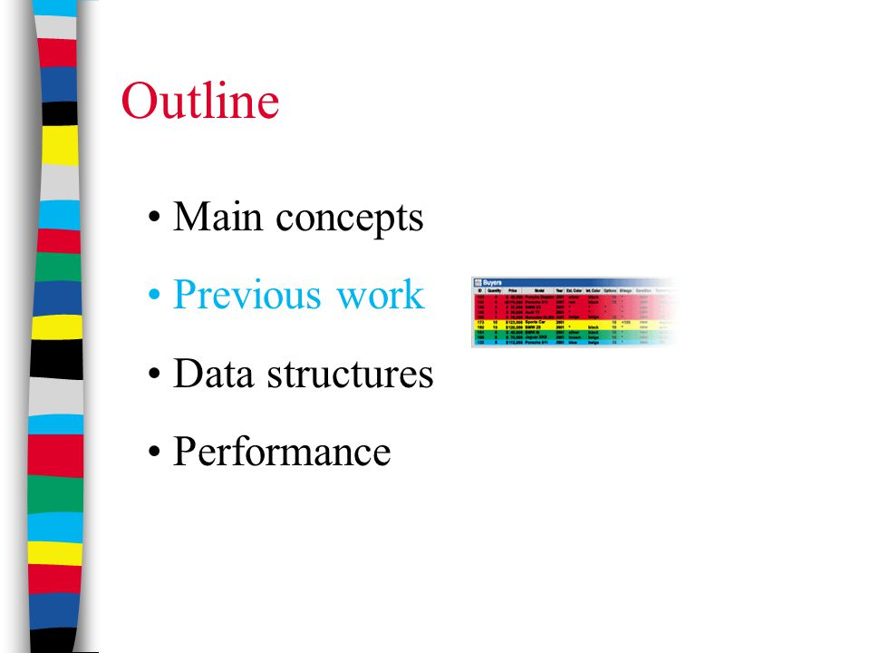 Outline Main concepts Previous work Data structures Performance