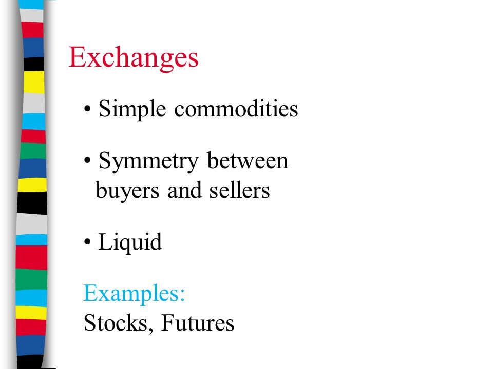 Exchanges Simple commodities Symmetry between buyers and sellers Liquid Examples: Stocks, Futures