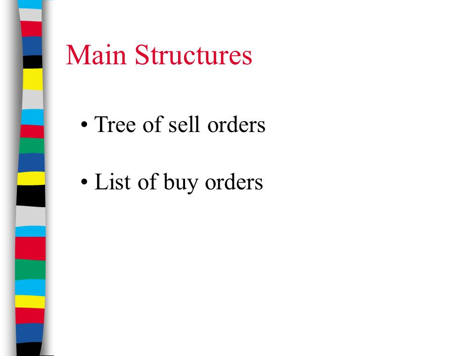 Main Structures Tree of sell orders List of buy orders