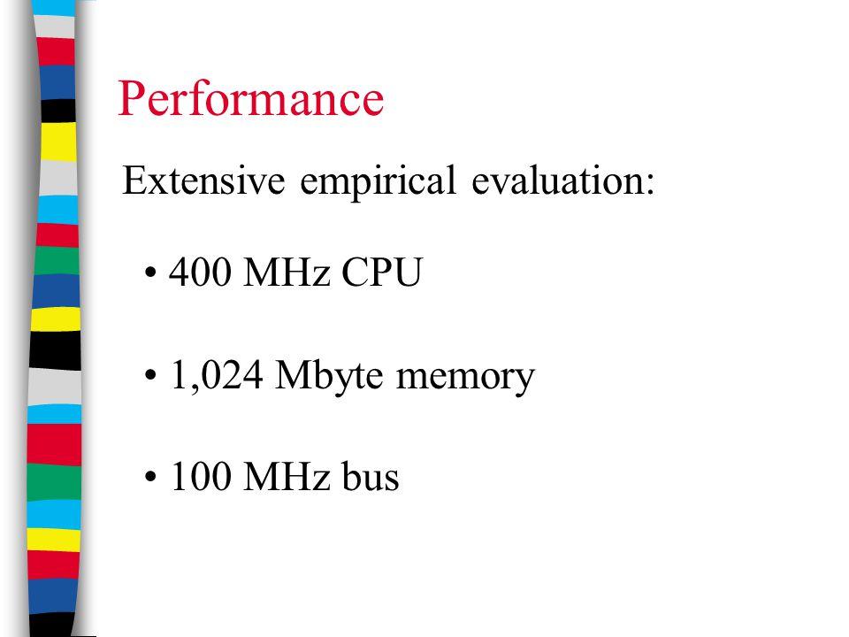 400 MHz CPU 1,024 Mbyte memory 100 MHz bus Extensive empirical evaluation: