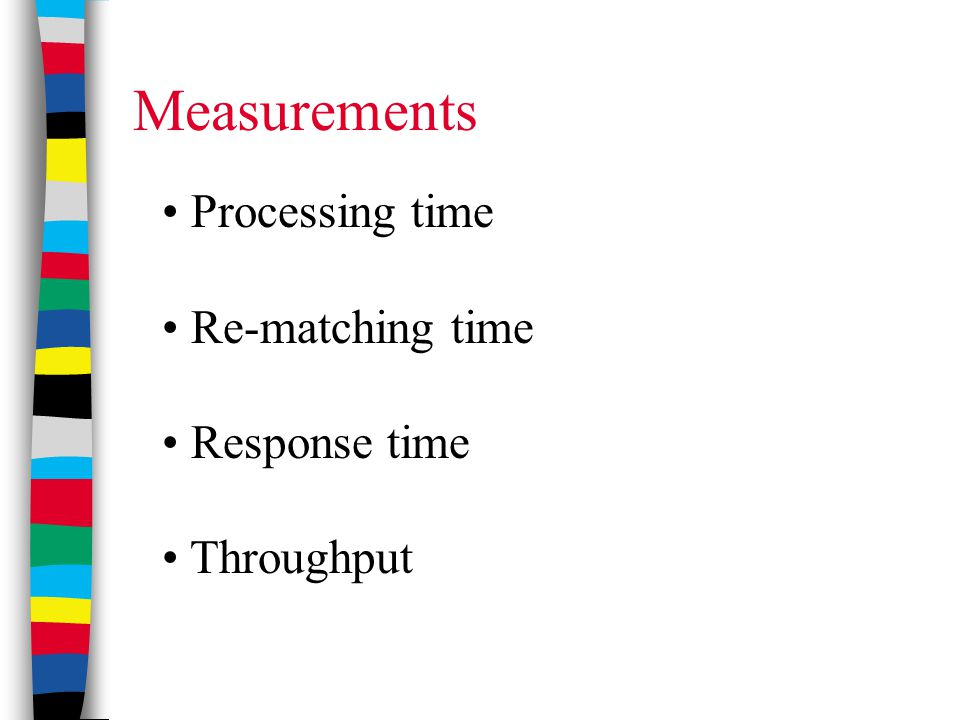 Measurements Processing time Re-matching time Response time Throughput