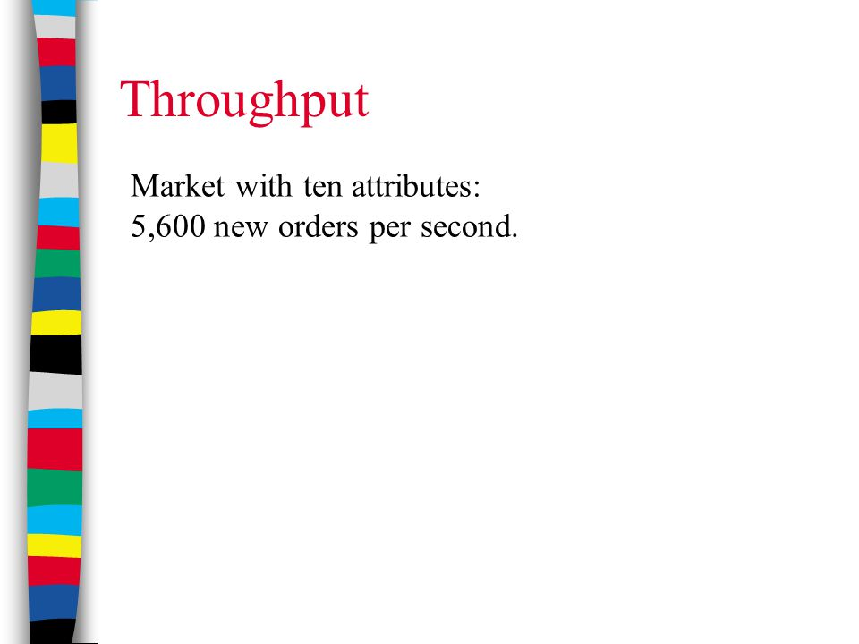 Throughput Market with ten attributes: 5,600 new orders per second.