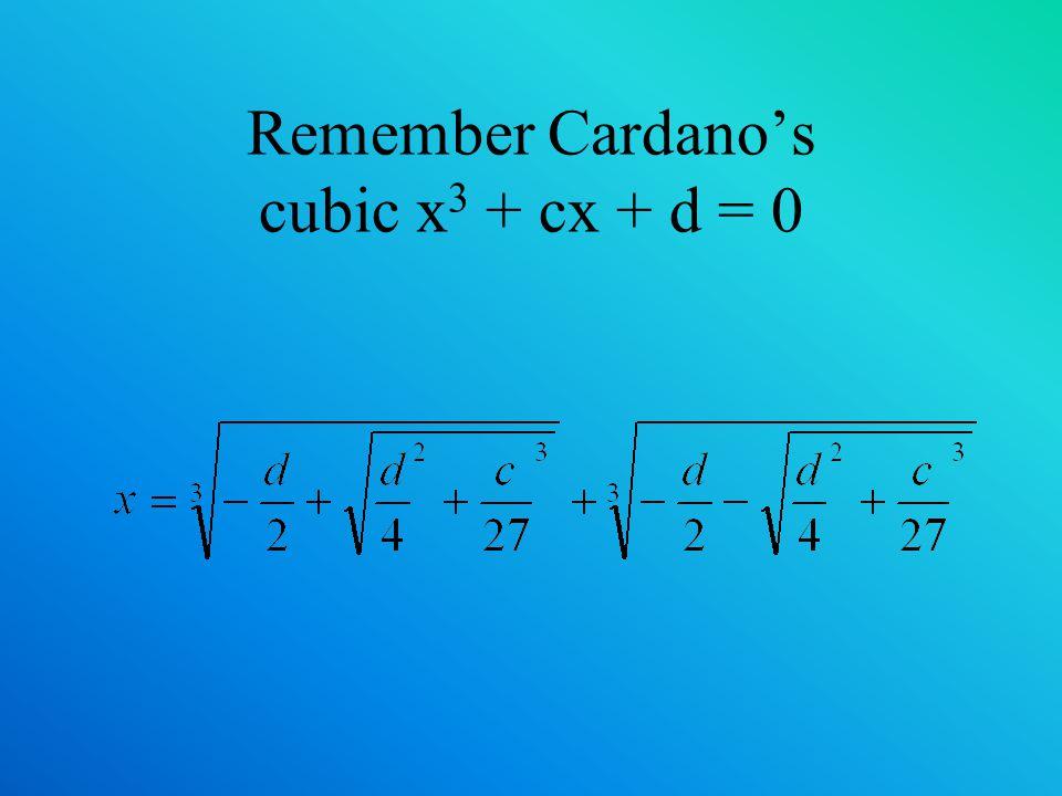 Remember Cardanos cubic x 3 + cx + d = 0