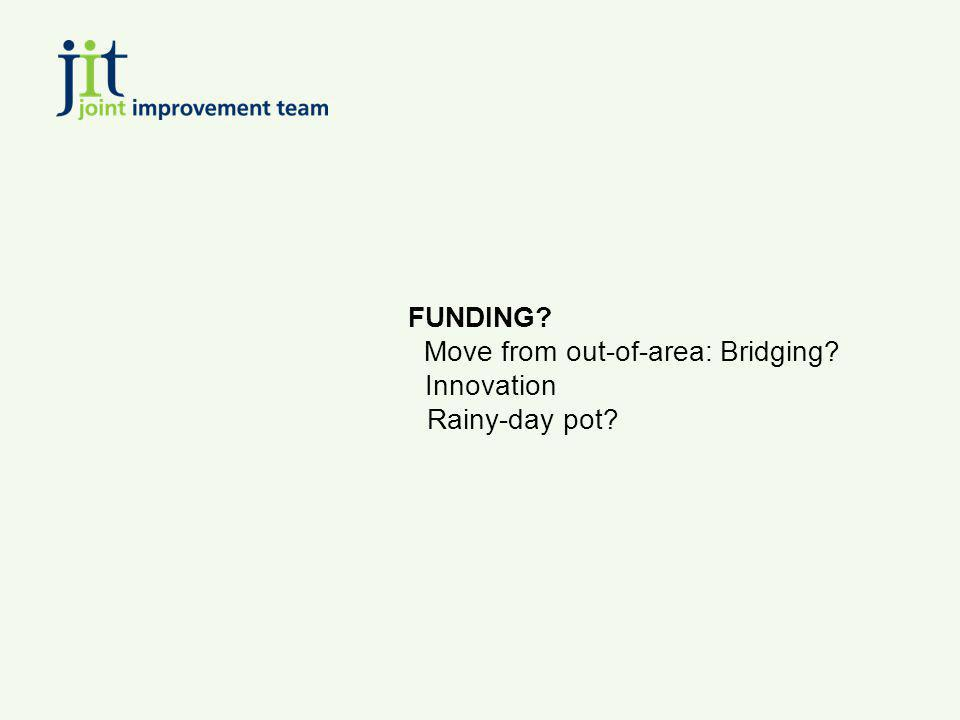 FUNDING? Move from out-of-area: Bridging? Innovation Rainy-day pot?