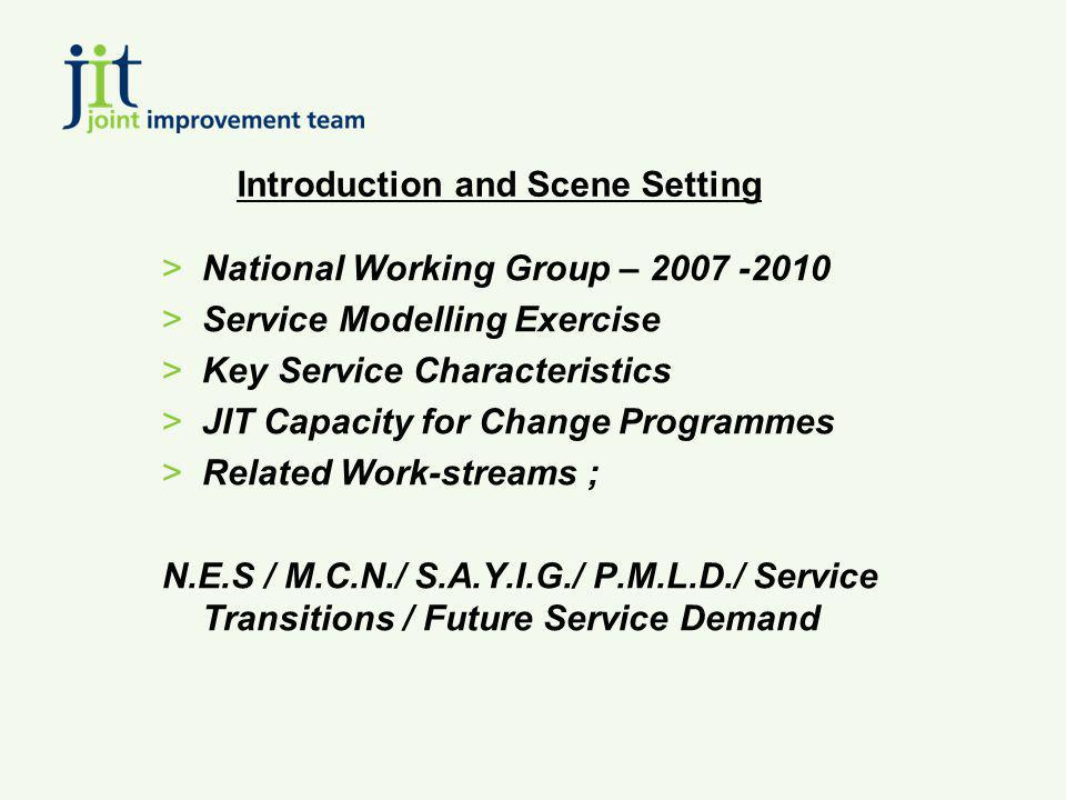 Introduction and Scene Setting >National Working Group – 2007 -2010 >Service Modelling Exercise >Key Service Characteristics >JIT Capacity for Change