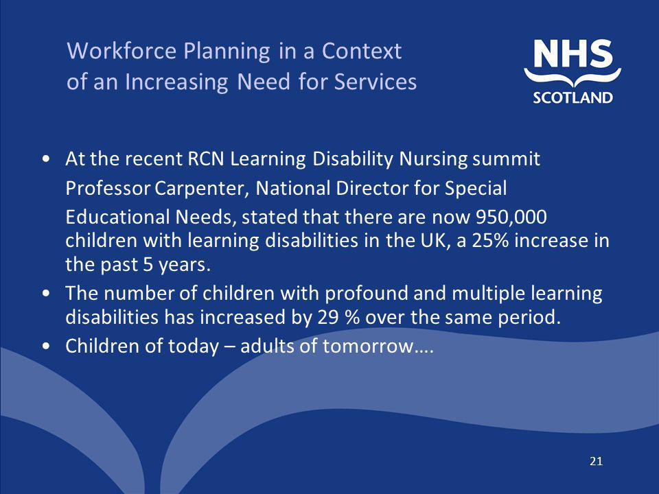 Workforce Planning in a Context of an Increasing Need for Services At the recent RCN Learning Disability Nursing summit Professor Carpenter, National