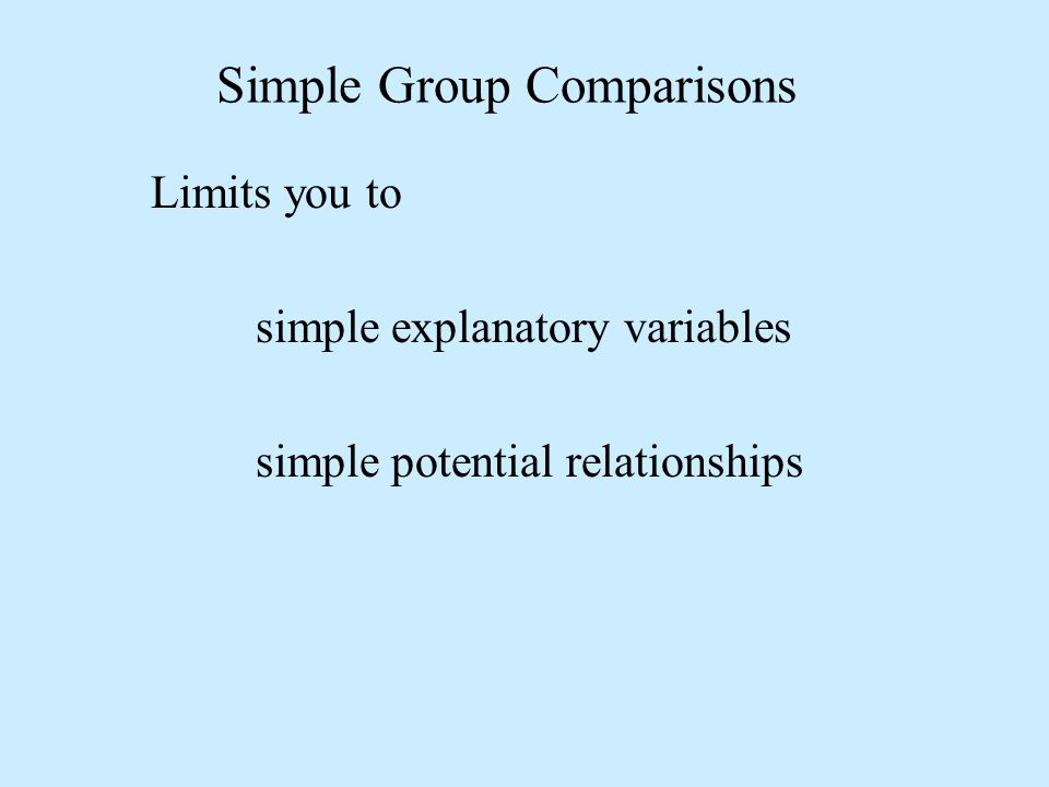Simple Group Comparisons Limits you to simple explanatory variables simple potential relationships
