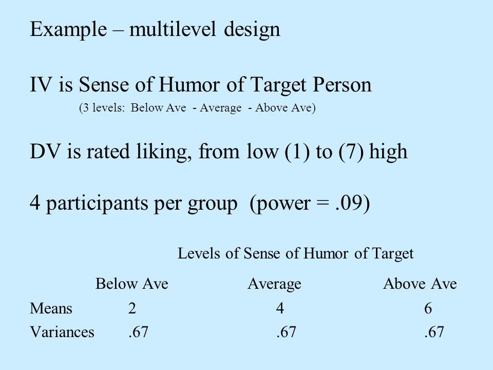 Example – multilevel design IV is Sense of Humor of Target Person (3 levels: Below Ave - Average - Above Ave) DV is rated liking, from low (1) to (7)