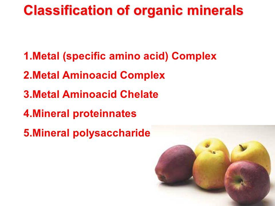 Classification of organic minerals 1.Metal (specific amino acid) Complex 2.Metal Aminoacid Complex 3.Metal Aminoacid Chelate 4.Mineral proteinnates 5.