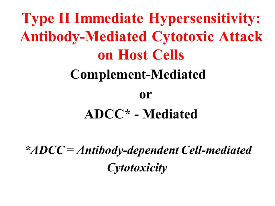 Type II Immediate Hypersensitivity: Antibody-Mediated Cytotoxic Attack on Host Cells Complement-Mediated or ADCC* - Mediated *ADCC = Antibody-dependent Cell-mediated Cytotoxicity
