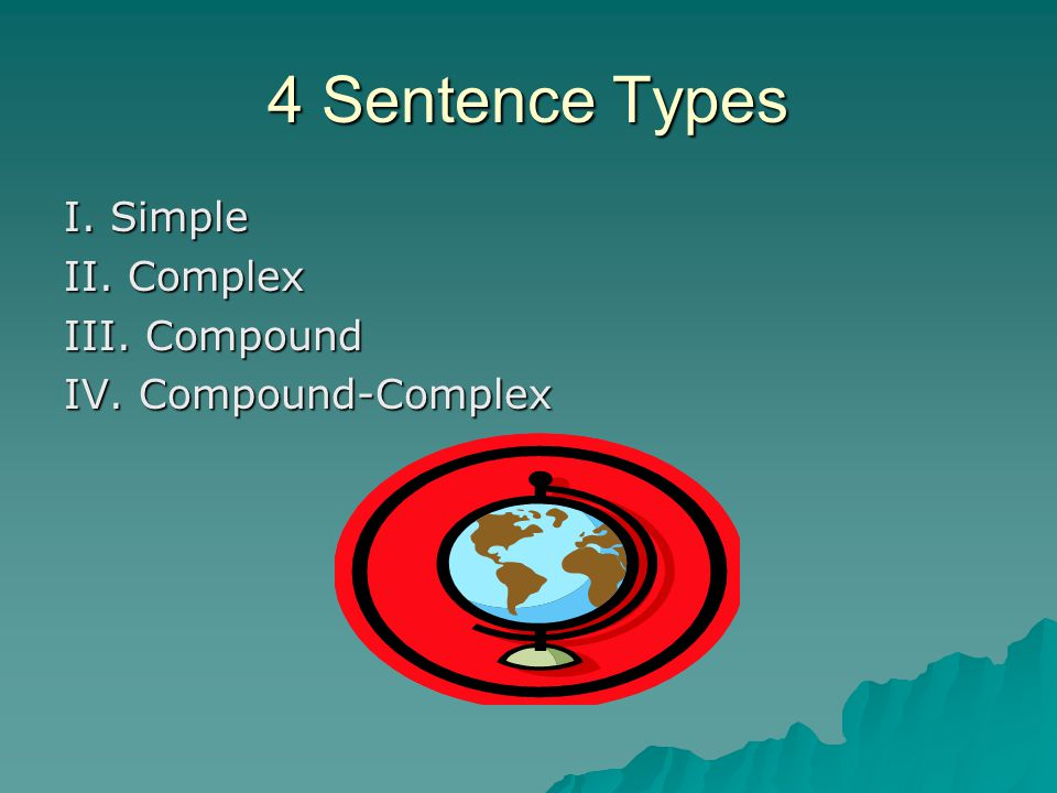 4 Sentence Types I. Simple II. Complex III. Compound IV. Compound-Complex