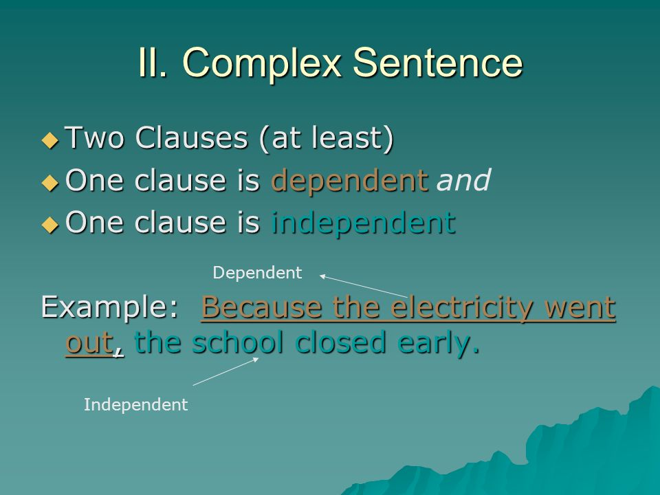 II.Complex Sentence Dependent Clause A dependent clause has a subject and a verb but….