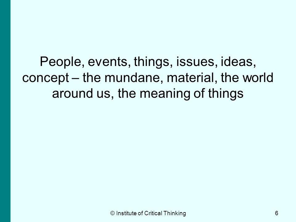 17 III Strategic thinking © Institute of Critical Thinking