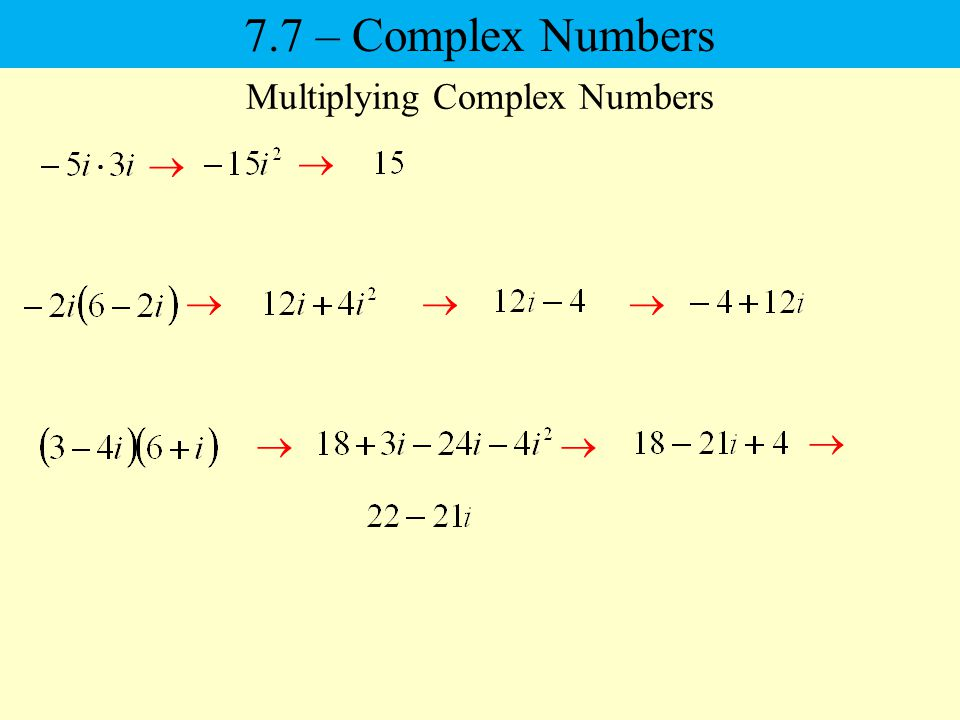 7.7 – Complex Numbers Multiplying Complex Numbers
