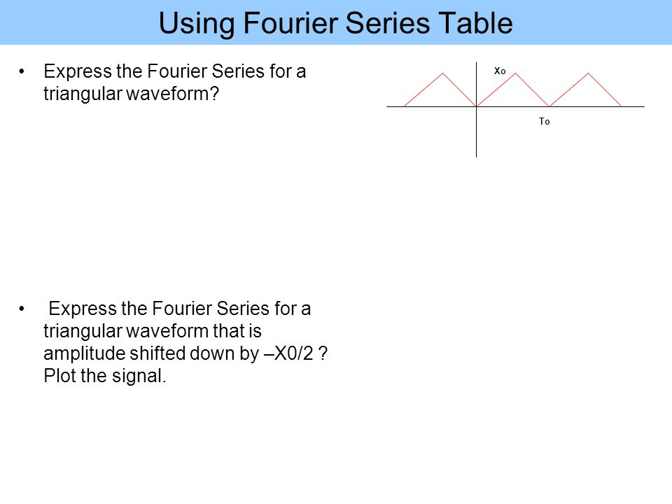Using Fourier Series Table Express the Fourier Series for a triangular waveform? Express the Fourier Series for a triangular waveform that is amplitud