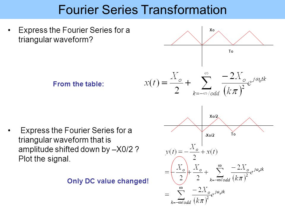 Fourier Series Transformation Express the Fourier Series for a triangular waveform? Express the Fourier Series for a triangular waveform that is ampli