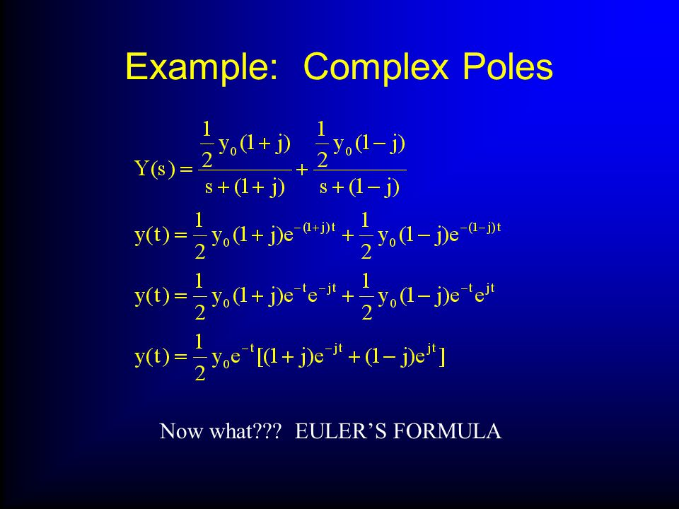 Example: Complex Poles Now what EULERS FORMULA