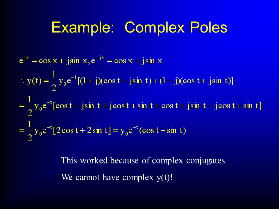Example: Complex Poles This worked because of complex conjugates We cannot have complex y(t)!
