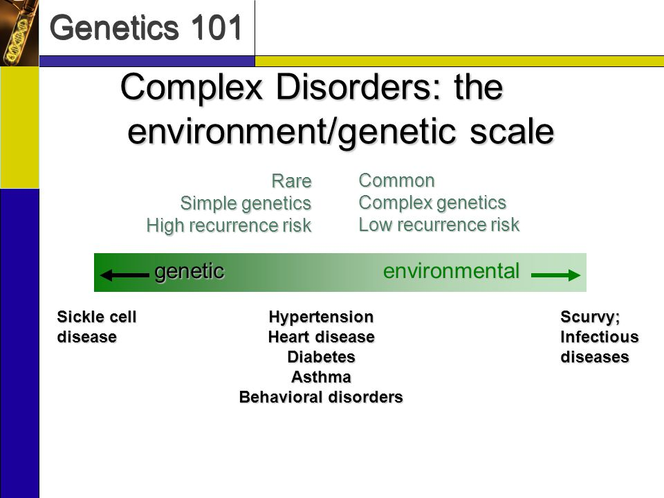 Genetics 101 Complex Disorders: the environment/genetic scale environmentalgeneticRare Simple genetics High recurrence risk Common Complex genetics Low recurrence risk Sickle cell disease Scurvy; Infectious diseases Hypertension Heart disease DiabetesAsthma Behavioral disorders