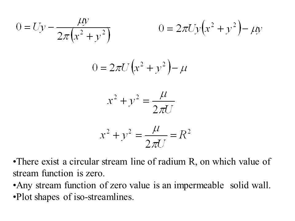 There exist a circular stream line of radium R, on which value of stream function is zero. Any stream function of zero value is an impermeable solid w