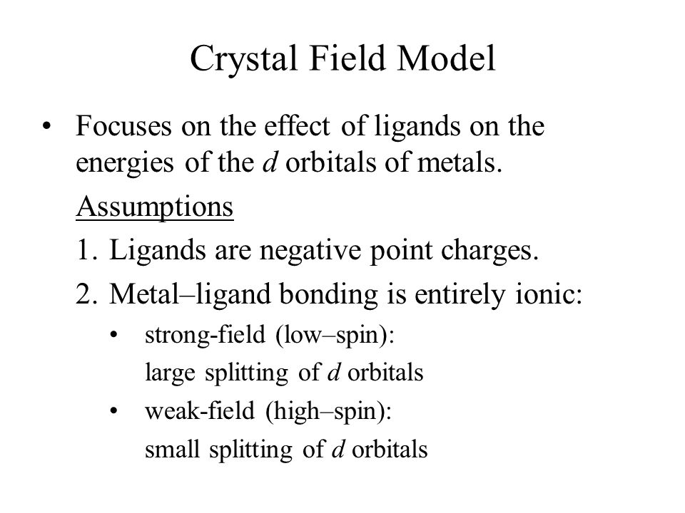 Focuses on the effect of ligands on the energies of the d orbitals of metals.