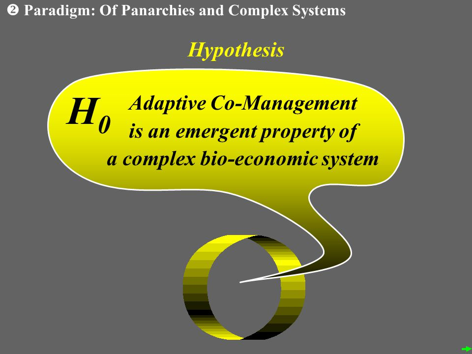 Hypothesis Adaptive Co-Management is an emergent property of a complex bio-economic system H0H0 Paradigm: Of Panarchies and Complex Systems