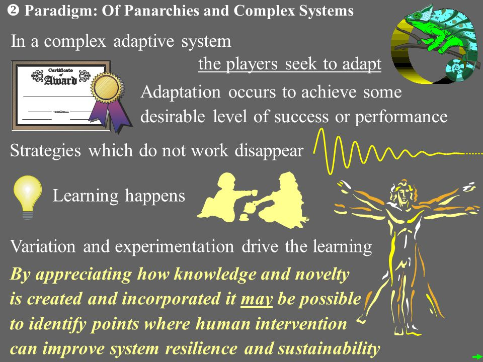 In a complex adaptive system the players seek to adapt Adaptation occurs to achieve some desirable level of success or performance Strategies which do not work disappear Learning happens Variation and experimentation drive the learning By appreciating how knowledge and novelty is created and incorporated it may be possible to identify points where human intervention can improve system resilience and sustainability Paradigm: Of Panarchies and Complex Systems