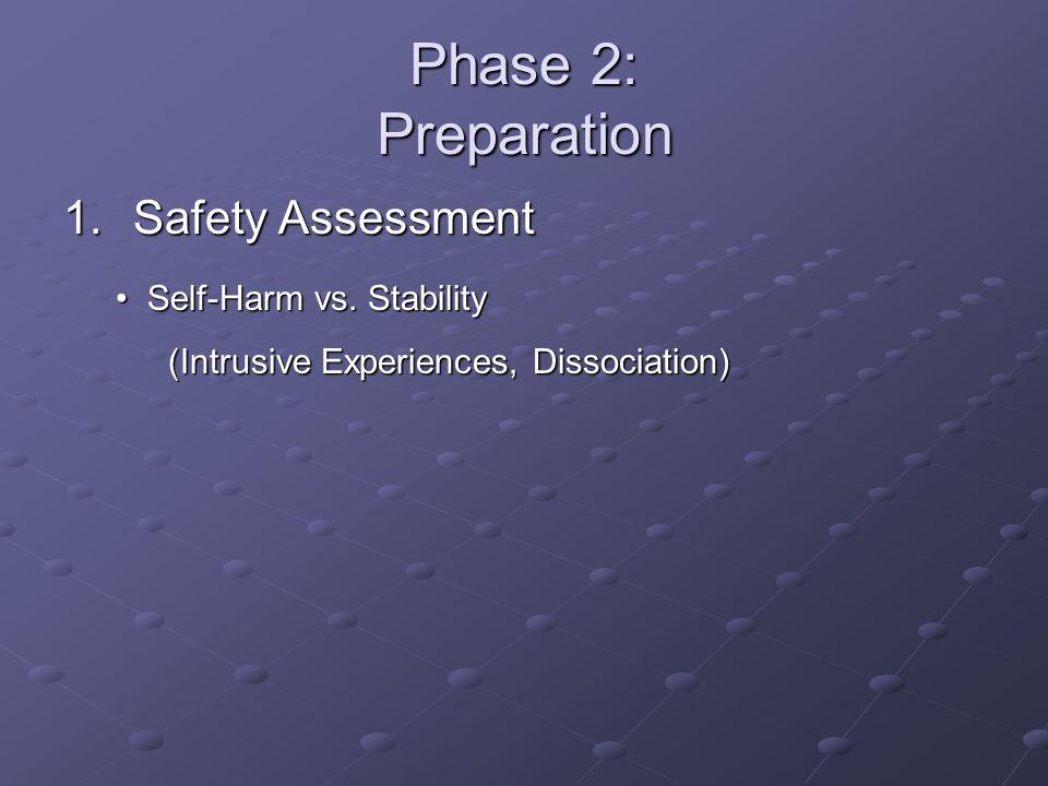 Phase 2: Preparation 1.Safety Assessment Self-Harm vs. Stability Self-Harm vs. Stability (Intrusive Experiences, Dissociation)