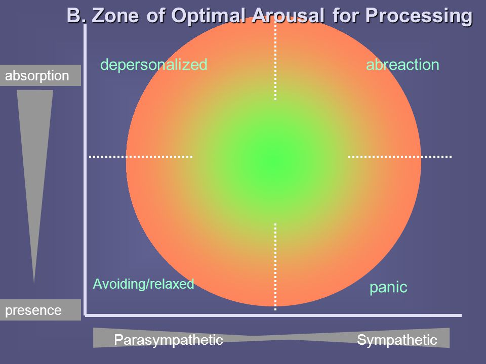 depersonalized Avoiding/relaxed abreaction panic presence absorption B. Zone of Optimal Arousal for Processing Parasympathetic Sympathetic