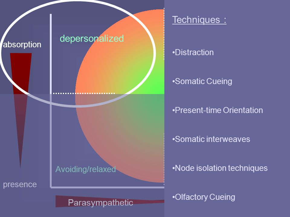 presence absorption depersonalized Avoiding/relaxed abreaction panic Techniques : Distraction Somatic Cueing Present-time Orientation Somatic interwea