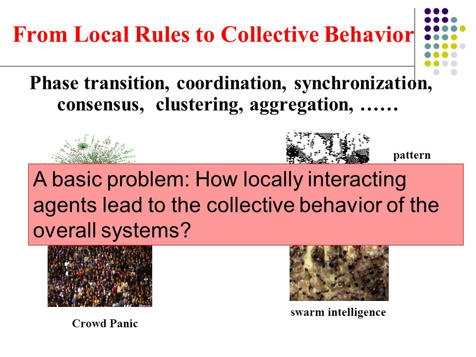 From Local Rules to Collective Behavior Phase transition, coordination, synchronization, consensus, clustering, aggregation, …… scale-free, small-worl