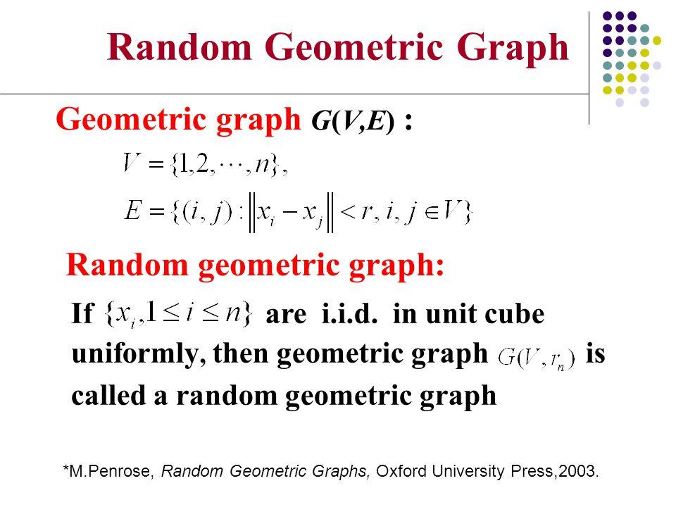 Random Geometric Graph Geometric graph G(V,E) : Random geometric graph: If are i.i.d. in unit cube uniformly, then geometric graph is called a random