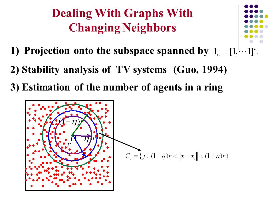 Dealing With Graphs With Changing Neighbors 3) Estimation of the number of agents in a ring 1)Projection onto the subspace spanned by 2) Stability ana