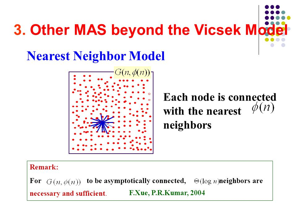 3. Other MAS beyond the Vicsek Model Nearest Neighbor Model Each node is connected with the nearest neighbors Remark: For to be asymptotically connect