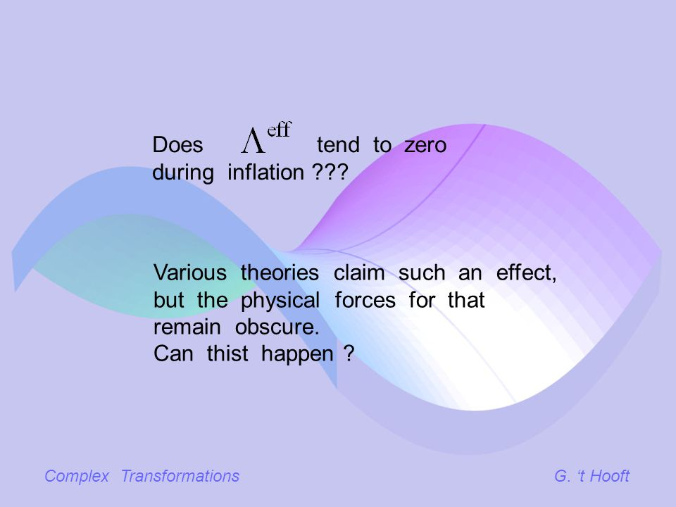 Complex TransformationsG. t Hooft Various theories claim such an effect, but the physical forces for that remain obscure. Can thist happen ? Does tend