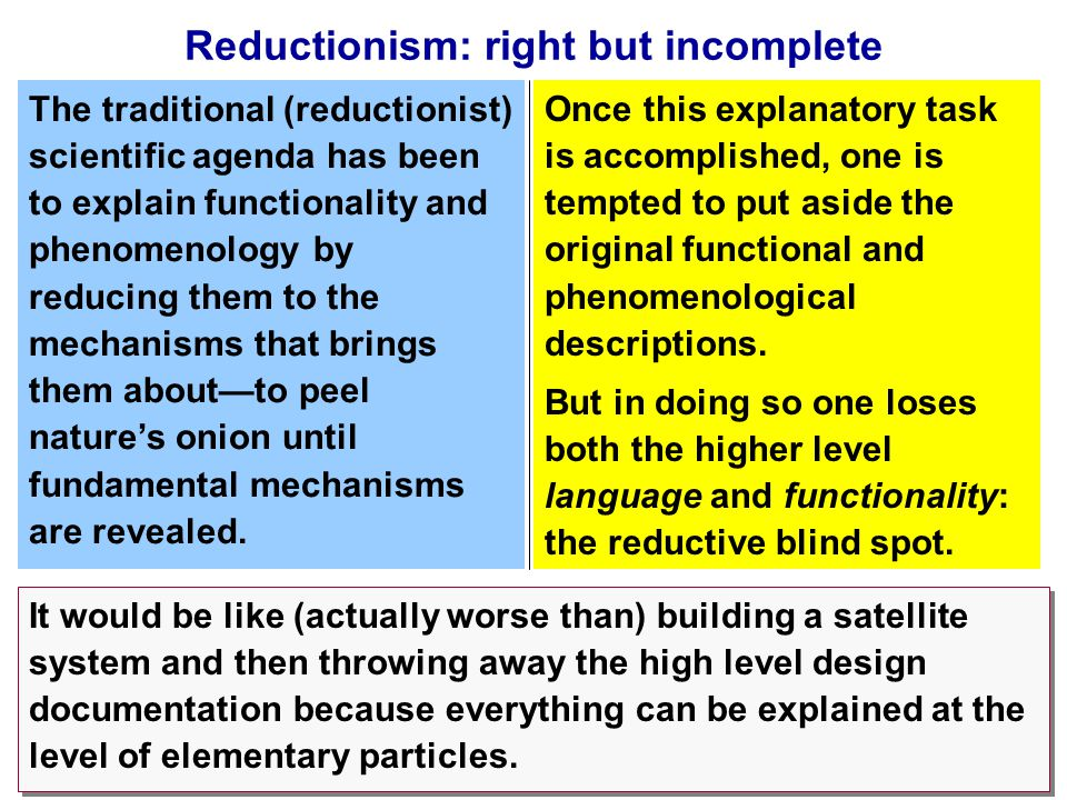 27 Reductionism: right but incomplete But in doing so one loses both the higher level language and functionality: the reductive blind spot.