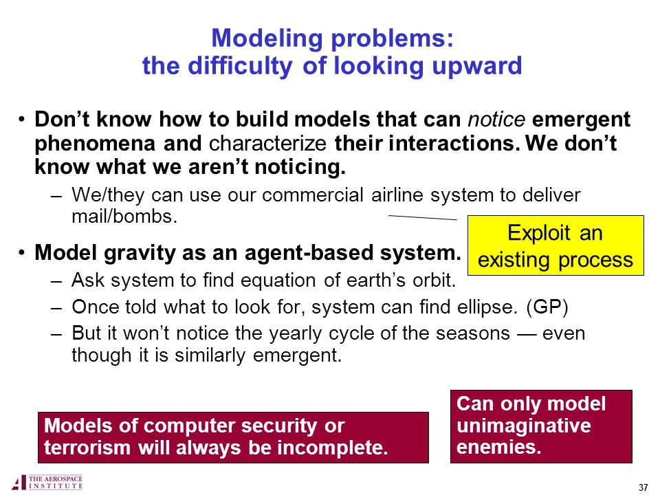 37 Dont know how to build models that can notice emergent phenomena and characterize their interactions.