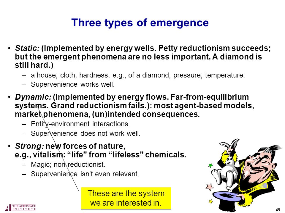 45 Three types of emergence Static: (Implemented by energy wells.