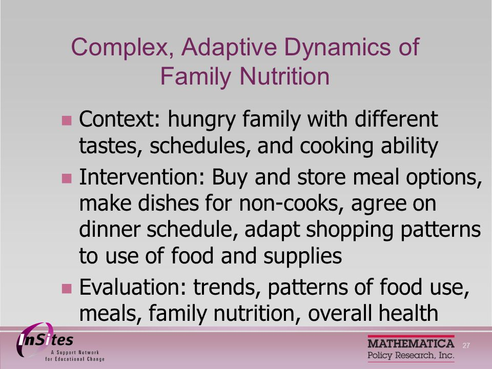 27 Complex, Adaptive Dynamics of Family Nutrition Context: hungry family with different tastes, schedules, and cooking ability Intervention: Buy and store meal options, make dishes for non-cooks, agree on dinner schedule, adapt shopping patterns to use of food and supplies Evaluation: trends, patterns of food use, meals, family nutrition, overall health