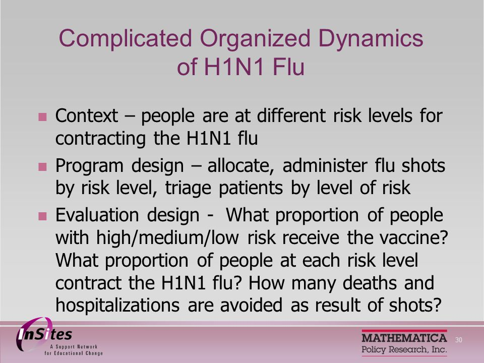 30 Complicated Organized Dynamics of H1N1 Flu Context – people are at different risk levels for contracting the H1N1 flu Program design – allocate, administer flu shots by risk level, triage patients by level of risk Evaluation design - What proportion of people with high/medium/low risk receive the vaccine.