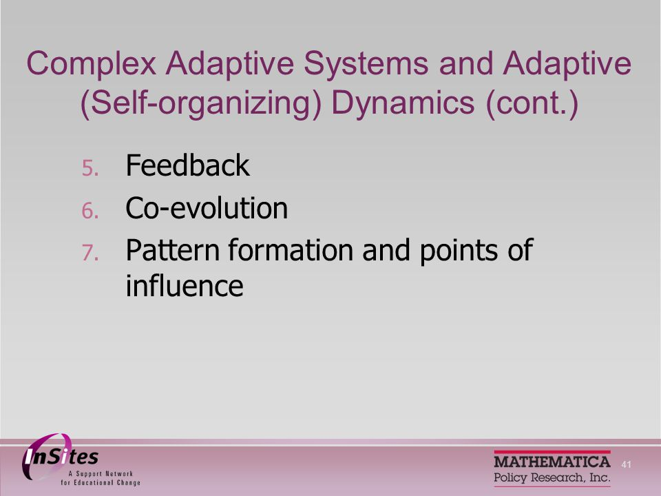 41 Complex Adaptive Systems and Adaptive (Self-organizing) Dynamics (cont.) 5.