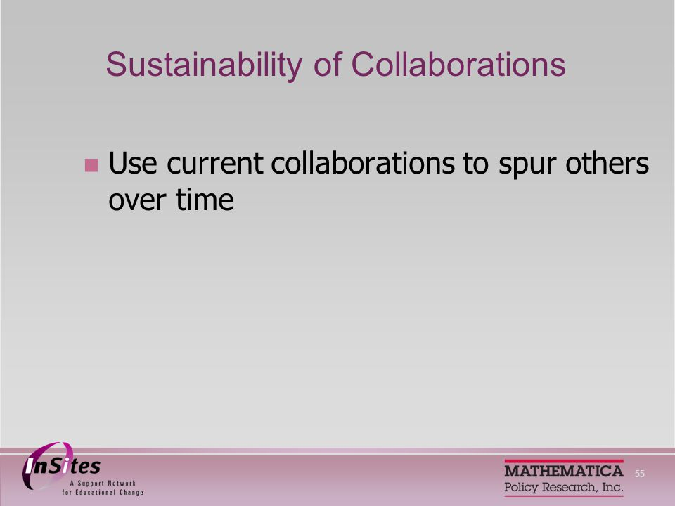 55 Sustainability of Collaborations Use current collaborations to spur others over time
