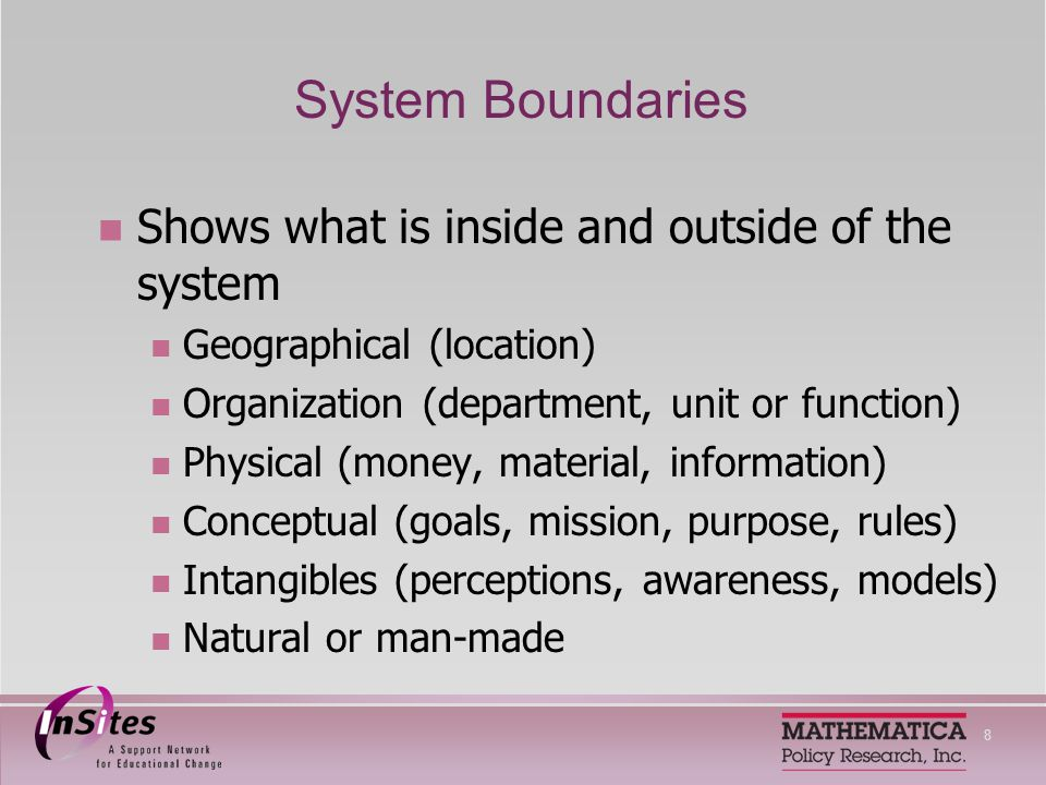 9 System Relationships (Interconnections) Connections and exchanges among system parts, parts and the whole, and the whole and its environment Flows of information Flows of funding Client referrals Collaborative partnerships Family, community, and social networks