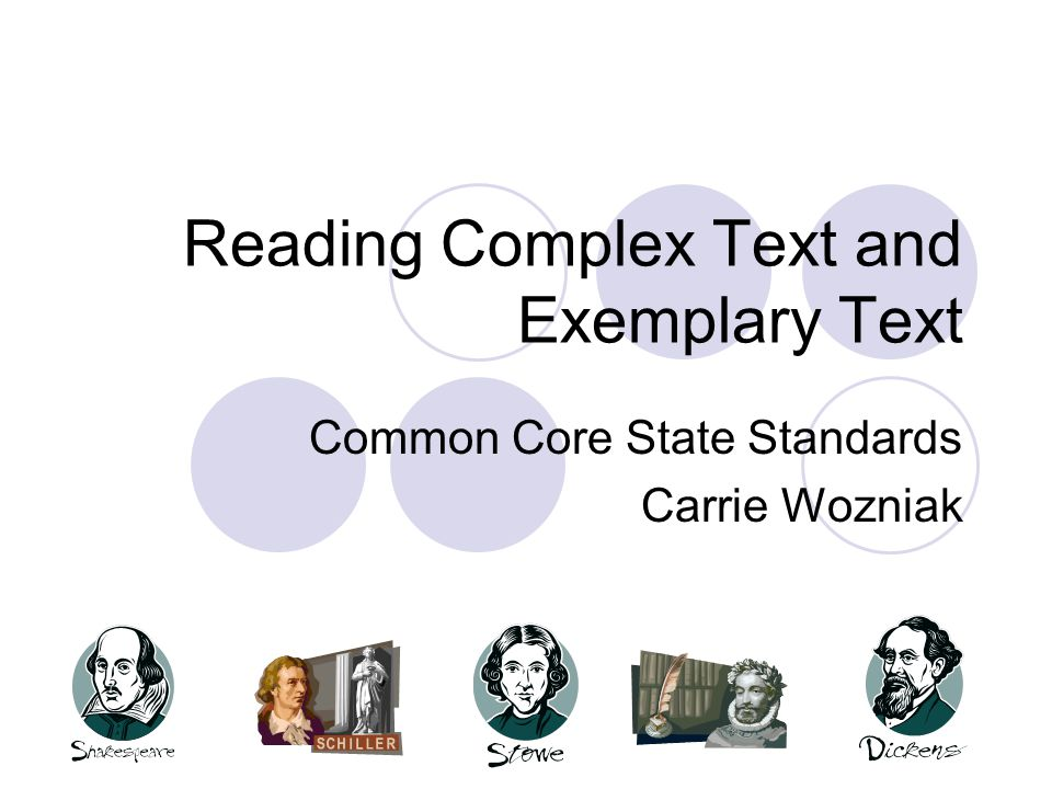 Reading Complex Text and Exemplary Text Common Core State Standards Carrie Wozniak