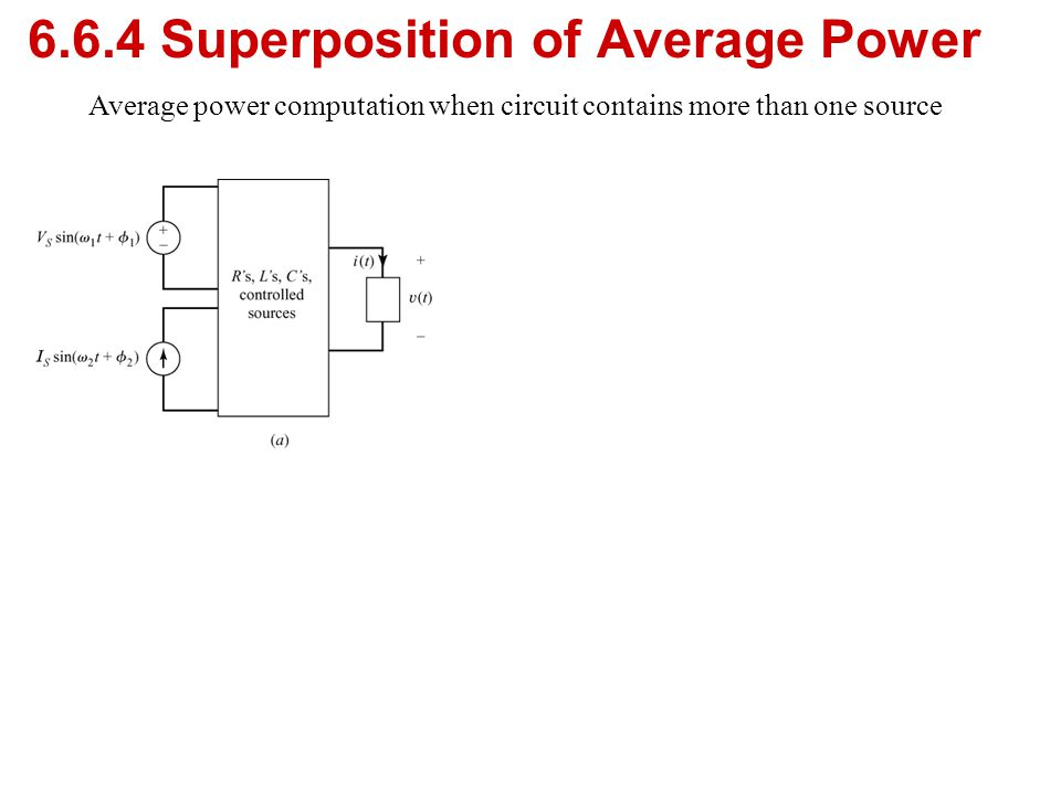6.6.4 Superposition of Average Power Average power computation when circuit contains more than one source