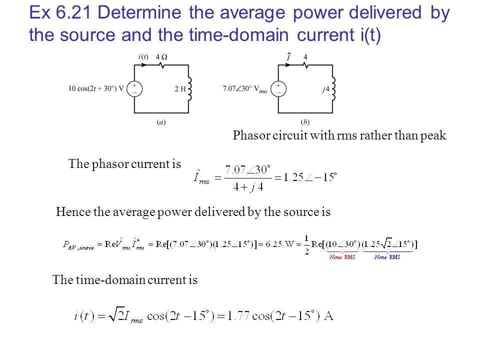 Ex 6.21 Determine the average power delivered by the source and the time-domain current i(t) Phasor circuit with rms rather than peak The phasor curre